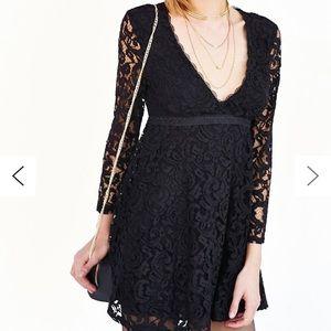 Kimchi Blue Black Lace Babydoll Dress